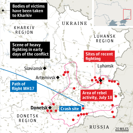 MH17 crash map