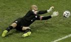 United States' goalkeeper Tim Howard makes a save