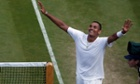 Nick Kyrgios reacts after defeating Rafael Nadal.