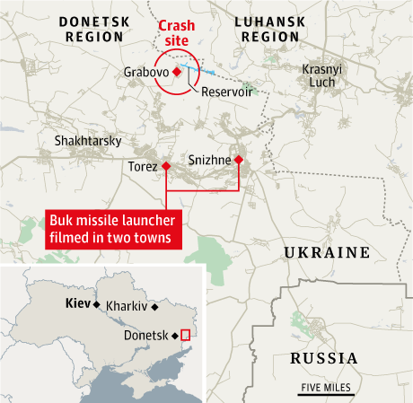 Buk missile launcher filmed in two towns