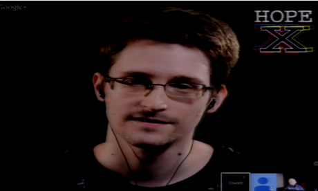 Edward Snowden speaking to the Hope conference