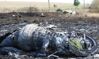 Part of the wreckage at the main crash site of  Malaysia Airlines flight MH17