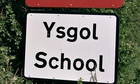 School sign in English and Welsh languages in Erwood, Powys.