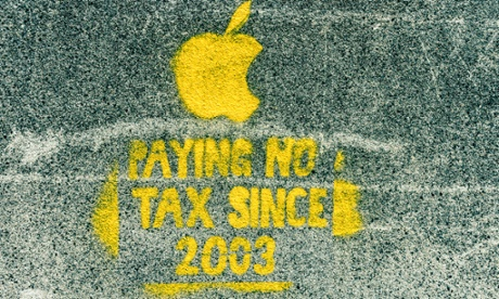 Street art protesting Apple's tax avoidance