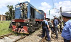 The train with refrigerated wagons carrying the victims' bodies arrives in city of Kharkiv