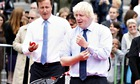 David Cameron and Boris Johnson play tennis