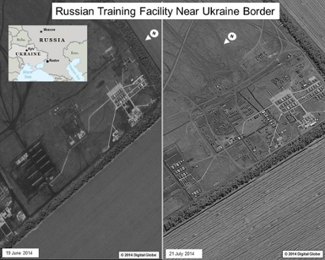Images of Russian training facility near Ukraine border, from a US intelligence report on the downing of MH17. Photograph: US intelligence community