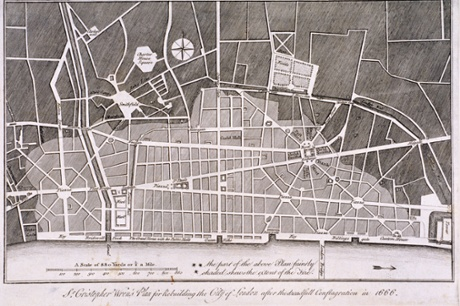 Sir Christopher Wren's plan for the rebuilding of the City of London after the Great Fire of 1666. Photograph: Heritage Image Partnership/Alamy