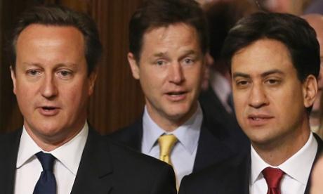 David Cameron, Nick Clegg and Ed Miliband.