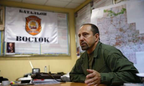 Rebel commander Alexander Khodakovsky of the Vostok Battalion speaks during an interview in Donetsk. Photograph: Maxim Zmeyev/Reuters