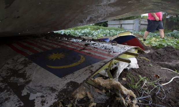 A piece of the crashed Malaysia Airlines Flight 17 in a garden in the village of Petropavlivka, Ukraine. mh17