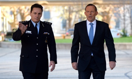 Tony Abbott and AFP commissioner Tony Negus in Canberra on Friday. Photograph: Alan Porritt/AAP