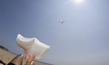 Reading on a beach