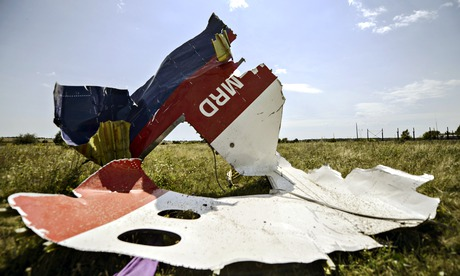 A piece of debris at the crash site of Malaysia Airlines Flight MH17. Photograph: Bulent Kilic/AFP/Getty Images