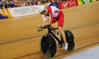 A focussed Joanna Rowsell powers her way to victory in the Women's 3000m Individual Pursuit.