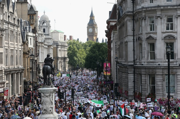 London: Protesters take part in a 'Stop the War' demonstration march from the Israeli Embassy to the Houses of Parliament.