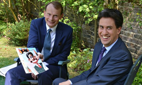 Ed Miliband is shown an image of Wallace on the Andrew Marr Show on 27 July 2014.