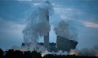 Three disused cooling towers at Didcot A power station are demolished