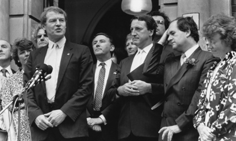 Paddy Ashdown with David Steel and defeated challenger Alan Beith, 28 July 1988