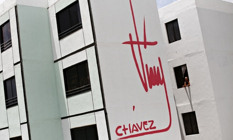 Hugo Chavez's signature on the side of a building