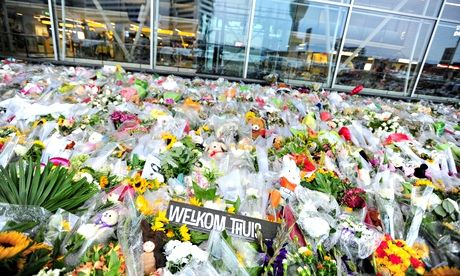 Memorial outside Schiphol airport to the 289 dead of flight MH17, apparently shot down by fighters endorsed by Vladimir Putin's regime. Photograph: Sipa USA/REX