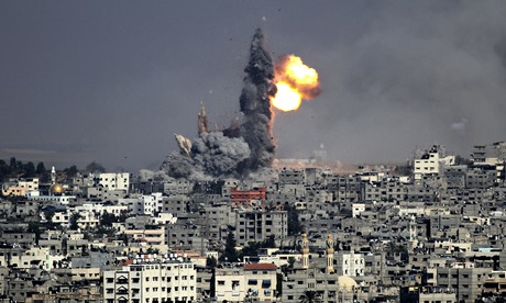 Smoke rises after an Israeli air strike in Gaza City.