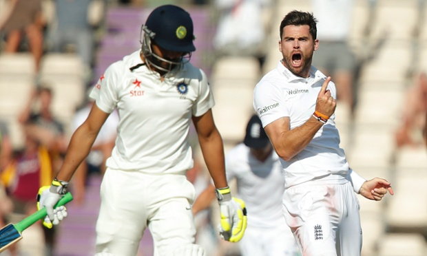England's James Anderson celebrates after getting the wicket of India's Ravindra Jadeja in the third Test at the Ageas Bowl.