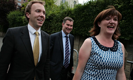 Tory ministers Matthew Hancock, David Gauke and Nicky Morgan at the Conservatives' summer party