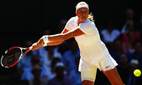 Petra Kvitova plays a backhand return.