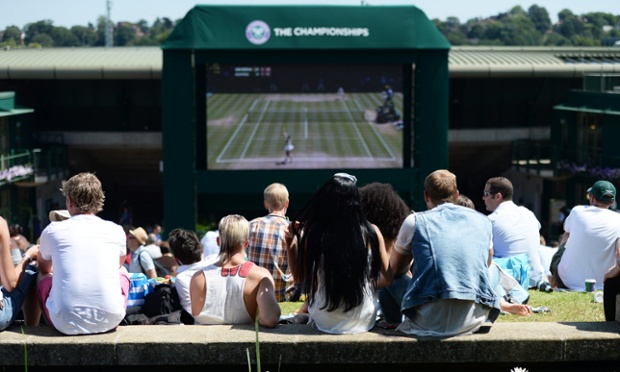 Fans gather to watch the semi-final outside Centre Court.