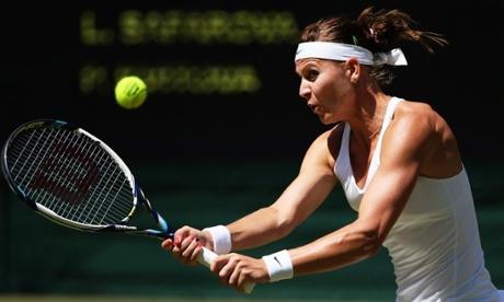 Lucie Safarova during her semi-final match against Petra Kvitova.