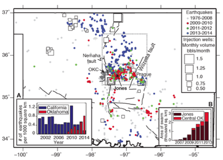 Earthquakes in Oklahoma between 1976-2014