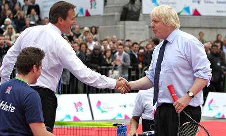 David Cameron and Boris Johnson playing tennis at a Paralympic event in Trafalgar Square in 2011