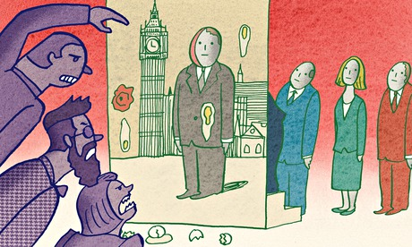 Satoshi Kambayashi illustration for Polly Toynbee piece on Westminster and politicians