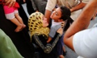 A Palestinian woman embraces her son after finding him alive at the hospital in Beit Lahia, northern Gaza, after continued Israeli bombing that killed more than 40 people.