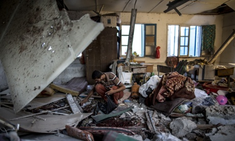 Aftermath of the strike on a UN school in Gaza City.