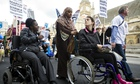 Disabled people protesting benefit cuts in London