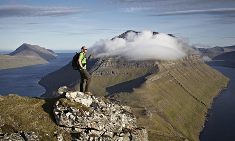 Hiker on island mountain