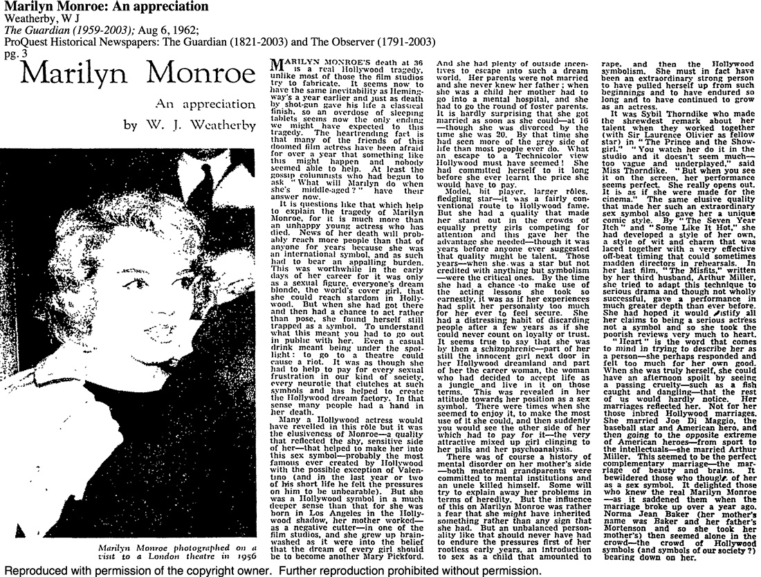 marilyn monroe death thesis statement A short statement, usually one sentence, that summarizes the m you simply list your three main pieces of evidence the opening statement, the background information, and the int.