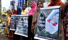 Relatives of Rana Plaza victims demonstrate to demand proper compensation
