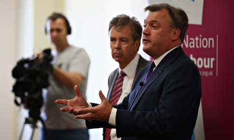Ed Balls, the shadow chancellor, arrives to give a speech in Bedford, 30 July 2014.
