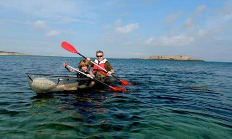 sea-kayaking in Longis Bay, Alderney