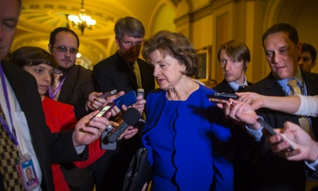 Democratic Senator from California and head of the Senate Intelligence Committee Dianne Feinstein (C) speaks to the media about her allegations that the CIA violated federal law by searching computers used by her panel in the US Capitol in Washington, DC, USA, 11 March 2014.