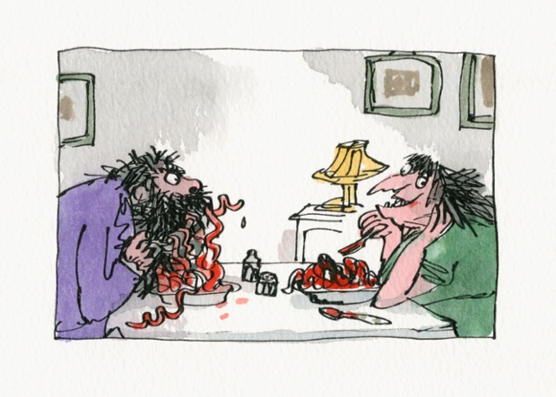 The Twits, written by Roald Dahl, first published by Jonathan Cape, 1980 Mr Twit eats a plate of worms disguised as spaghetti.