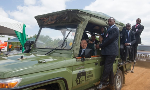 U.N. Secretary-General Ban Ki-moon sits in a tour van as he prepares for a drive through the Nairobi National Park