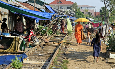 A slum area in Phnom Penh