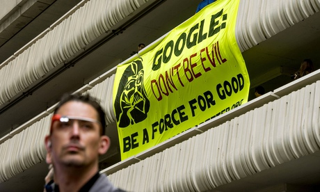 An anti-Google protest banner hung outside a developer's conference in San Francisco.