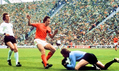 Johan Cruyff, being denied by Sepp Maier and Franz Beckenbauer, again, in the 1974 final