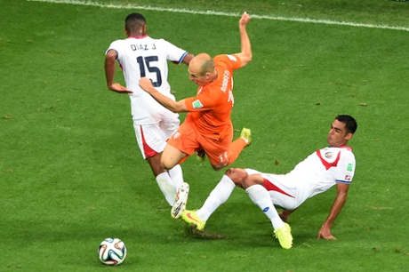 Robben goes down under a double challenge.