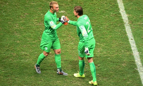 A bizarre moment in World Cup history: Tim Krul comes on as a late sub for the penalty shoot-out.
